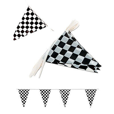 Black White Checkered Flags Party Banner Pennant Car Racing Boy's Birthday Decor - Checkered Flag Pennant Banner