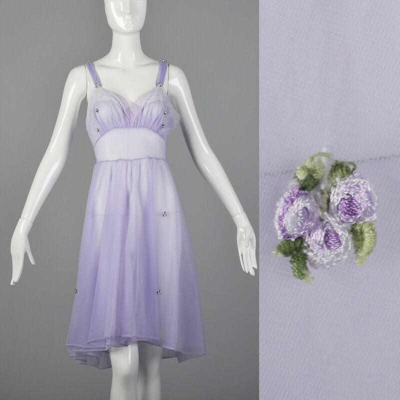 S 1950s Sheer Purple Nightgown Floral Appliques Pin Up Sleep Lounge Lingerie 50s