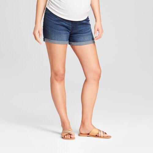 Maternity Crossover Panel Midi Jean Shorts - Dark Wash – Sizes 2 & 4 Isabel #d3