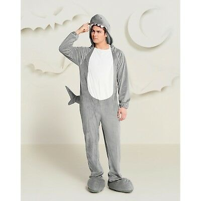 Adult Mens Small 34-36 Plush Shark Cosplay/Halloween Costume 1 Piece Jumpsuit](Small Mens Halloween Costumes)