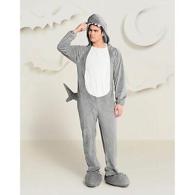 Adult Mens Small 34-36 Plush Shark Cosplay/Halloween Costume 1 Piece Jumpsuit
