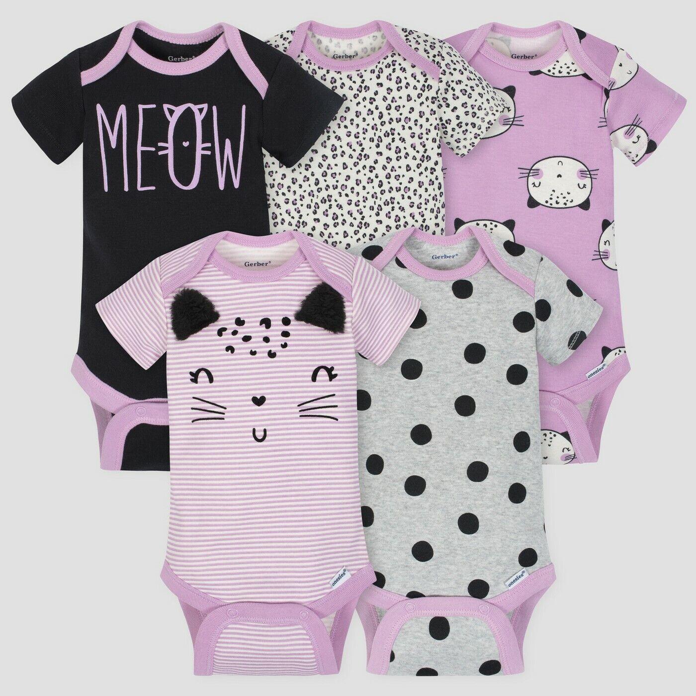 Gerber Baby Girl's 5 Pack Short Sleeve Onesies Size 6-9 Mont