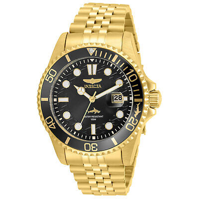 Invicta Men's Watch Pro Diver Quartz Black Dial Yellow Gold Bracelet 30614