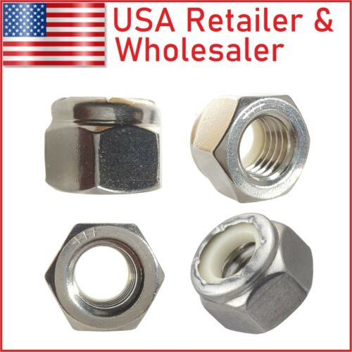 304 316 Stainless Steel Nylon Insert Hex Lock Nuts Nylock, #2 #3 #4 #5 #6 #8 #10
