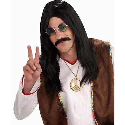 Hippie Dude Herren Erwachsene Schwarz 60s Jahre Groovy Mann Kostüm Lange Perücke