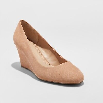 NEW Women's Dot Round Toe Wedge Pumps - A New Day Tan Pecan Size 12 - Size 12 Pumps