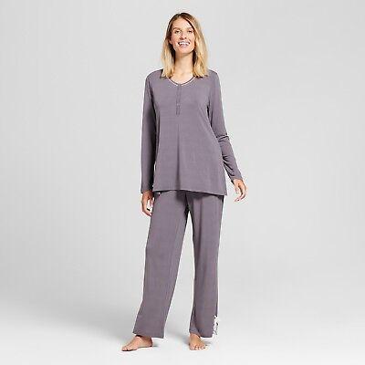 Lamaze Women's Nursing Long Sleeve Henley Top & Pants Pajama Set Graphite for sale  Salem