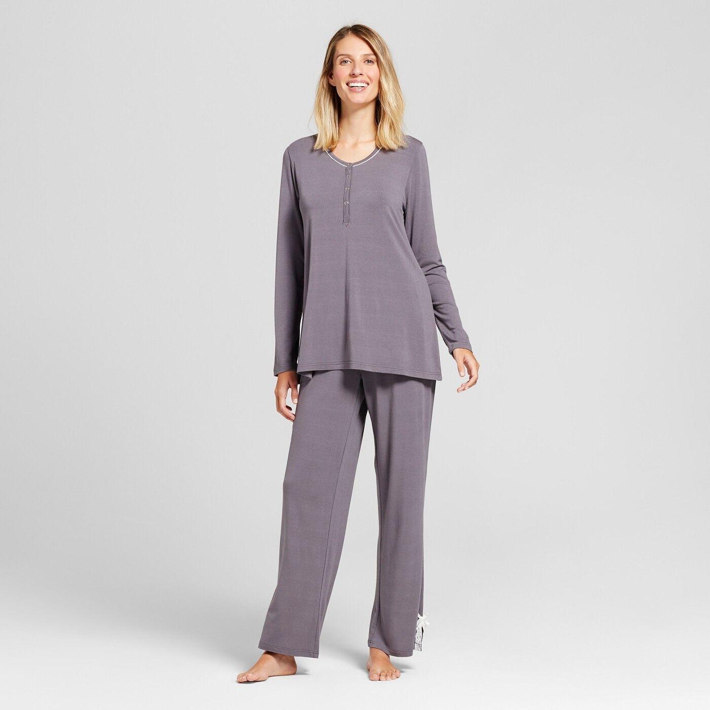 Lamaze Women Nursing Long Sleeve Henley Top & Pants Pajama Set Graphite, Small Clothing, Shoes & Accessories
