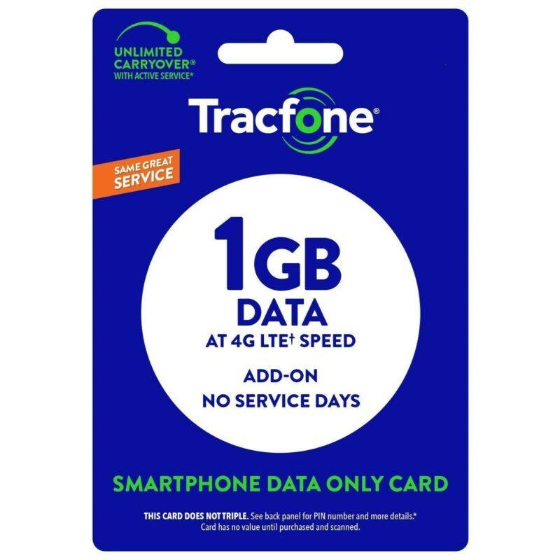 TracFone 1 GB Data Refill Add On for Smart Cell Phone Same Day Direct Load 1GB