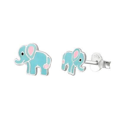 Epoxy Elephant Stud 925 Sterling Silver Post Children Women Earrings