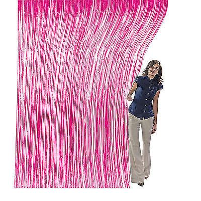 3ft x 8ft Pink Metallic Foil Fring Tinsel Backdrop Curtain Photobooth Party Prop (Pink Foil)