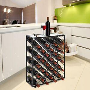 32 Bottle Wine Rack Metal Storage Display Liquor Cabinet w/Glass Table Top Black