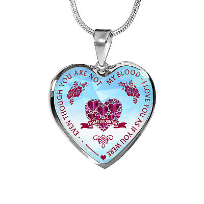 To My Daughter Gift From Step Mom Dad - Step Daughter Unique Heart Necklace Gift ()