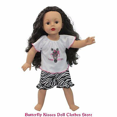 Zebra Print Baby Doll Pajamas 18 in Doll Clothes Fit American Girl Zebra Print Baby Doll
