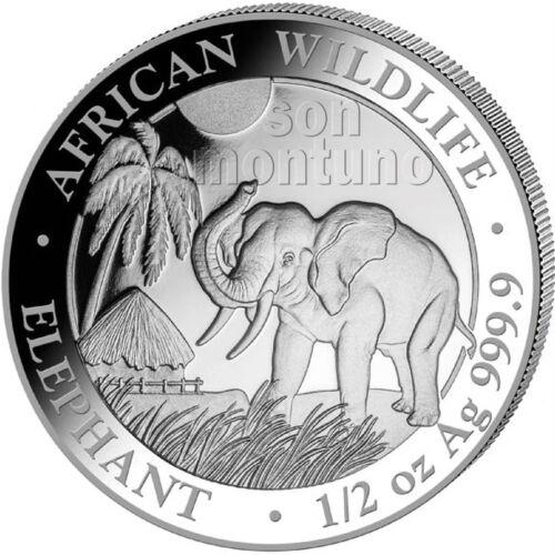 2017 SOMALIA SILVER ELEPHANT - 1/2 oz Coin in Capsule African Wildlife .9999 BU