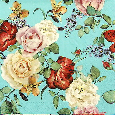 4x Paper Napkins -Vintage Roses Blue- for Party, Decoupage