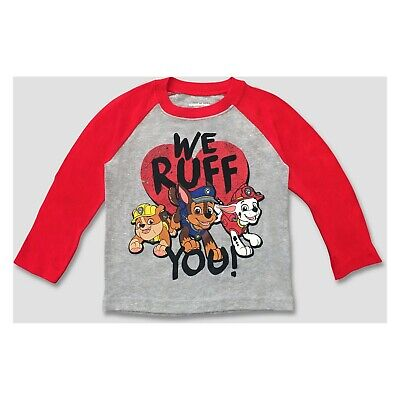 rol Valentines We Ruff You LS Shirt~Red/Grey~Chase/Rubble (Paw Patrol Valentines)