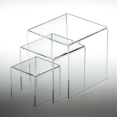 "Set of 3 Clear Acrylic Display Riser (3"", 4"", 5"" ) Jewelry Showcase Fixtures"