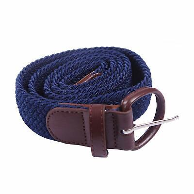 HDE Men's Elastic Braided Belt Woven Stretch Fabric with Covered Buckle (Cloth Covered Stretch Belt)