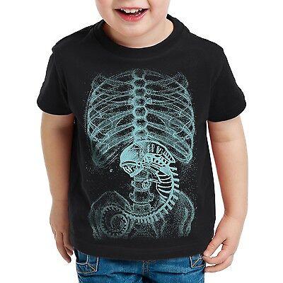 Alien Xenomorph Kinder T-Shirt Skelett black x halloween akte predator - Xenomorph Kostüm Kind