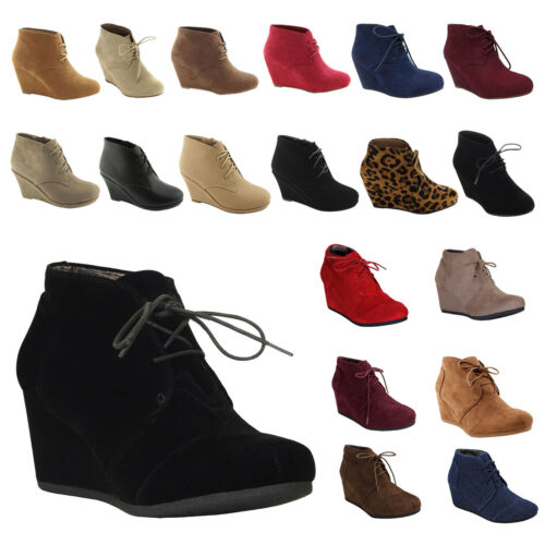 Boots - NEW Womens Wedge Booties Oxford High Heels Ankle Boots Shoes Platform Black size