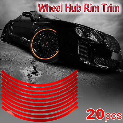 20pcs Reflective Car Wheel Hub Rim Stripe Sticker Wheel Decal Conspicuity Tape