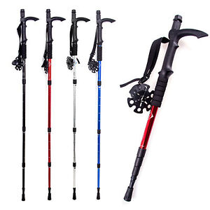 Hiking Walking Pole Trekking Ski Stick with Camera Monopod Compass 4Section