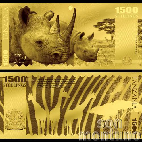 RHINO - African Big Five - 1 Gram 24K .999 Gold Flexible Bank Note 2018 Tanzania