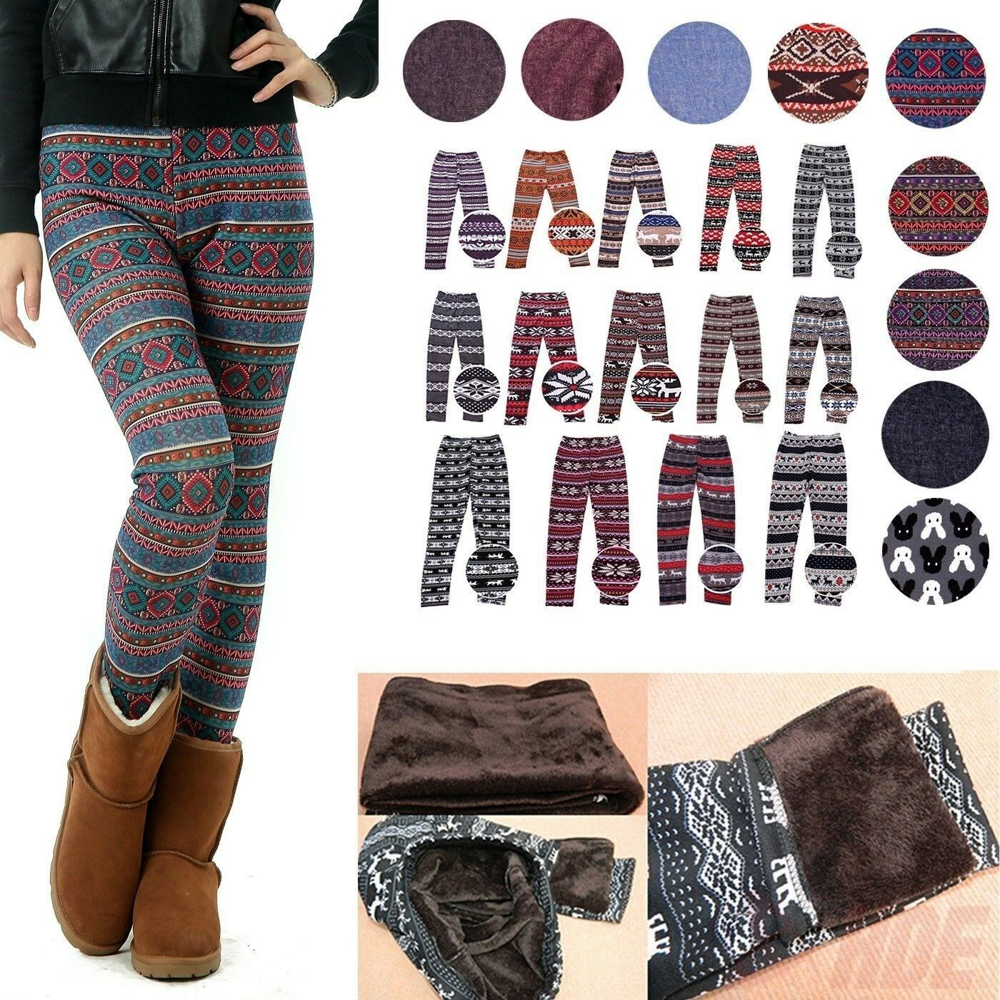 Leggings - Women's Fleece Nordic Leggings Winter Knit Thermal Insulated Christmas Pants