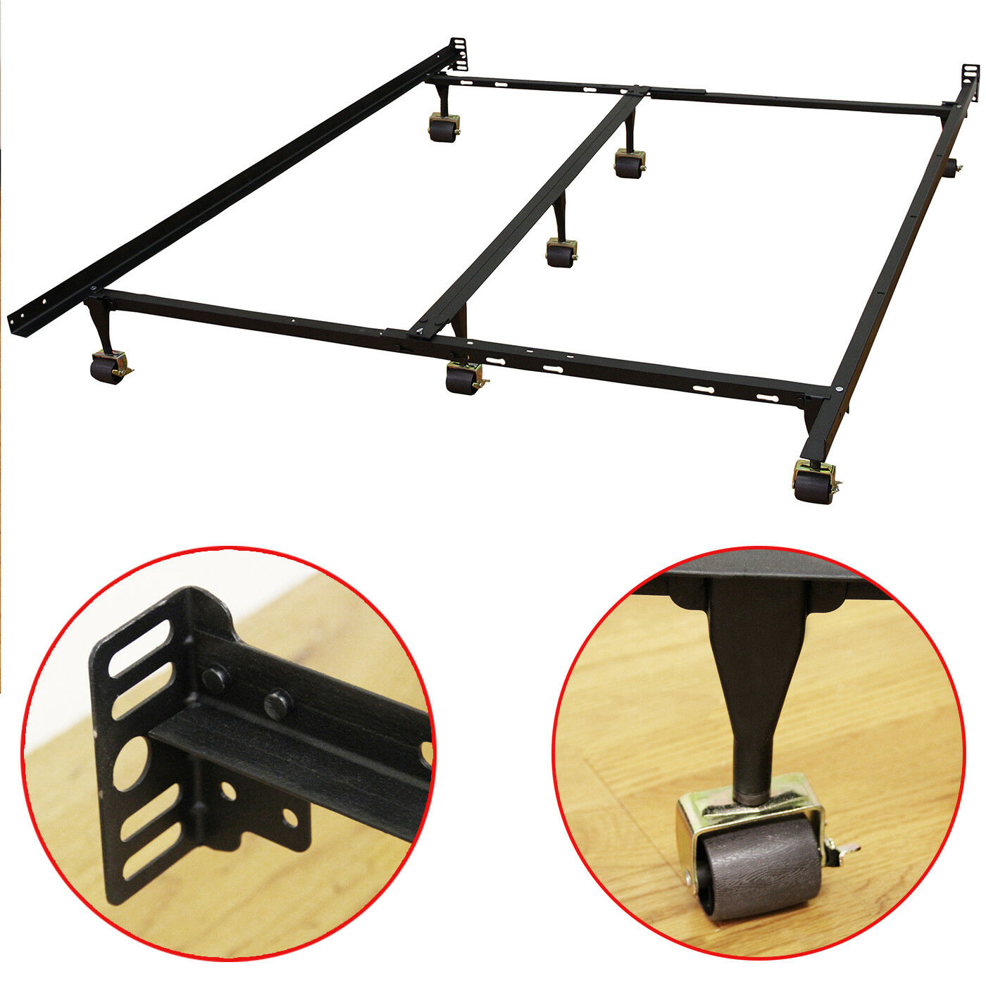 King Size Bed Frame Box Spring/Mattress Heavy-Duty Adjustabl