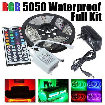 5M RGB 5050 Waterproof LED Strip light SMD 44 Key Remote 12V US Power Full Kit