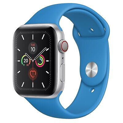 Apple Watch Series 5 GPS, 44mm Silver Aluminium Case With Surf Blue Sports Band