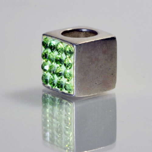 Individuality Beads IBB Sterling Silver Cube Green Swarovski Crystal Charm Bead