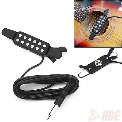 Clip-on Acoustic Electric Guitar Pickup Audio Transducer Amplifier 12 Hole 1/4