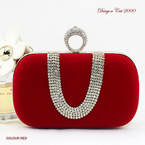Crystal Clutch Evening Bag Party Bag Ring Handle ☆Free shipping ☆