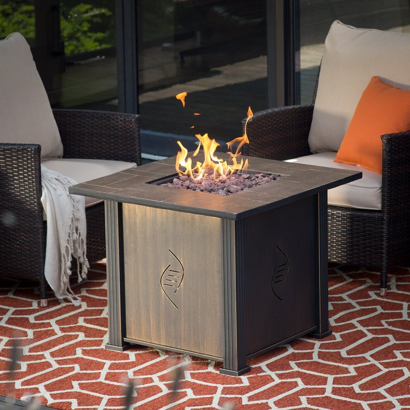 Fire Pit Table Burner Patio Deck Outdoor Fireplace Propane Rustic