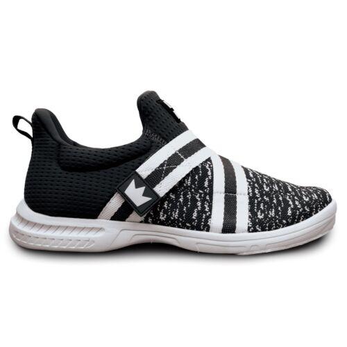 Mens Brunswick SLINGSHOT Slip On Bowling Shoes Black/White Sizes 7-14