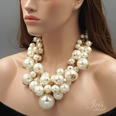 Huge White Pearl Crystal Cluster Bib Statement Necklace Gold Plated Chain 04868