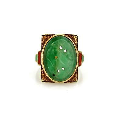 Jade Floral Band Ring - Antique Carved Jade 14k Yellow Gold Coral Inlay Floral Ring