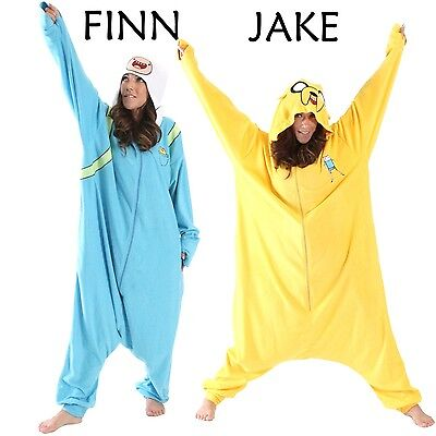 Adult TV Show Adventure Time Finn Jake Costume Japanese Kigurumi Cosplay Pajamas (Finn Jake Costume)