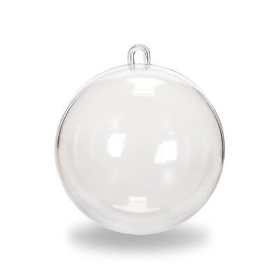 Clear Plastic Fillable Christmas Ball Ornaments Circle Spheres Candy Filler 12pc