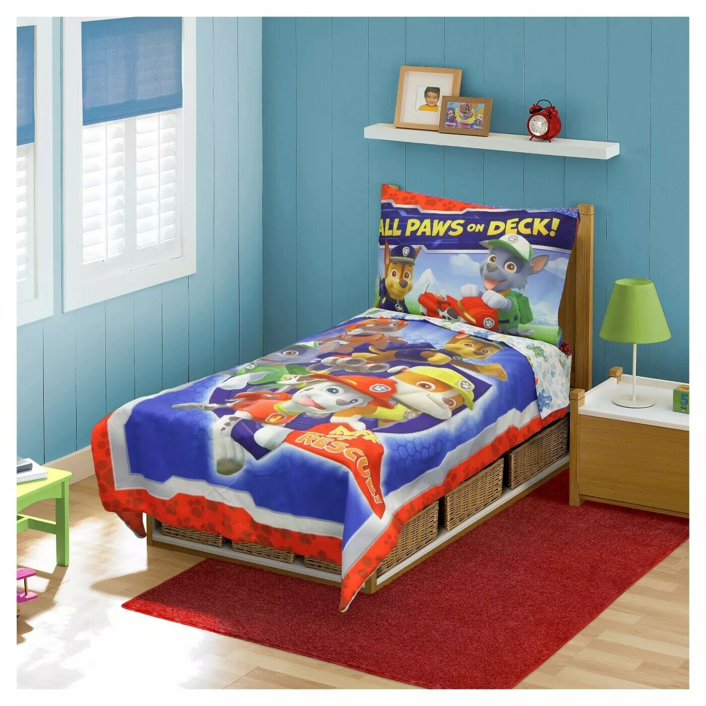 """NEW Paw Patrol """"All Paws on Deck"""" 4 Piece Toddler Bedding Se"""