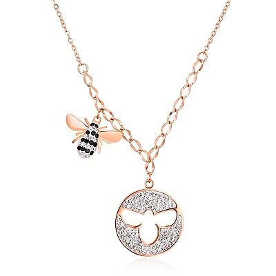 Cute Stainless Steel Rose Gold Cut-Out Bee CZ Pendant & Necklace