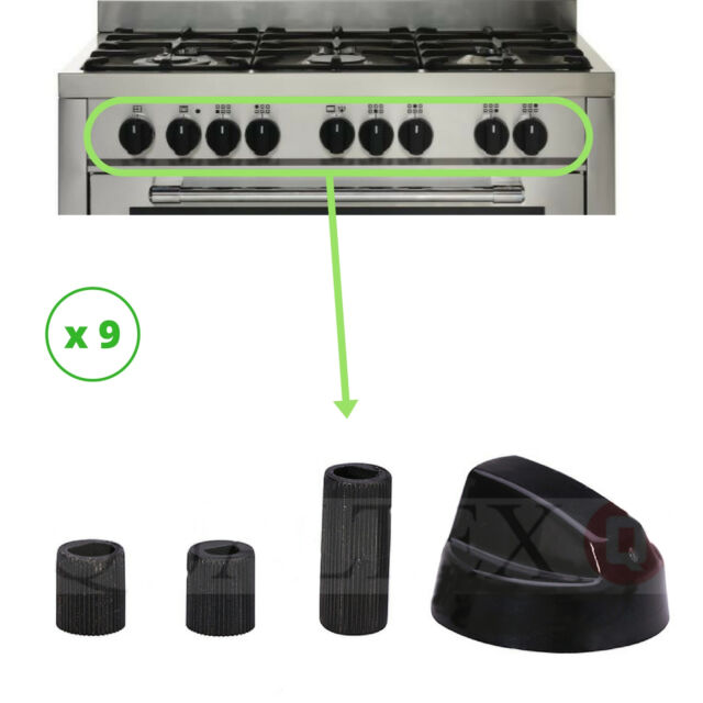 KNOBS X 9: UNIVERSAL MULTIFIT COOKER OVEN GRILL CONTROL KNOB BLACK