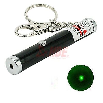 Bright Green Laser Light Beam Pointer Pen 5mw Powerful Portable Mini Keychain