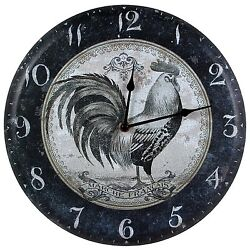 French Country Rooster Metal Wall Clock rustic vintage farmhouse kitchen decor