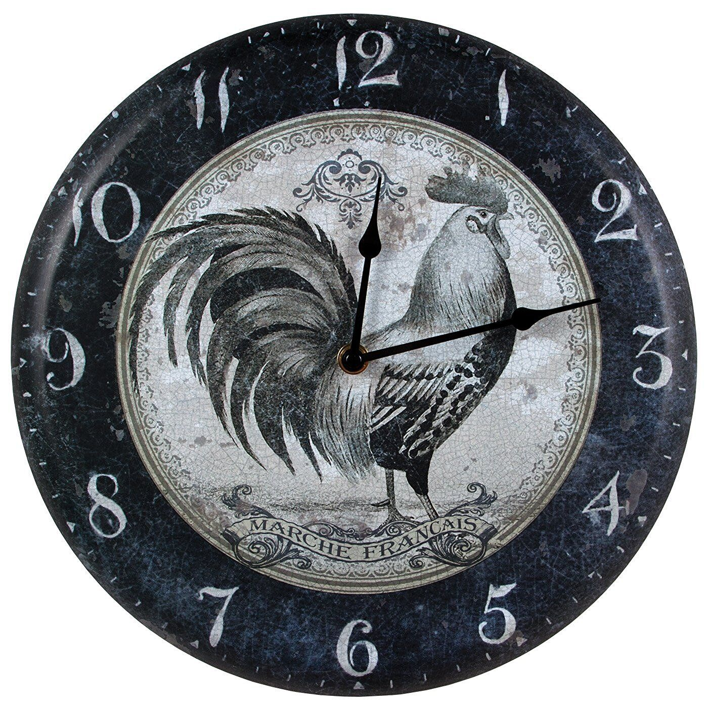 French Country Rooster Metal Wall Clock Rustic Vintage
