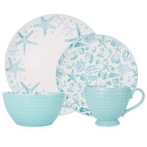 Coastal Dinnerware Set Stoneware Aqua Blue White Shells Starfish Plate Bowl Mug