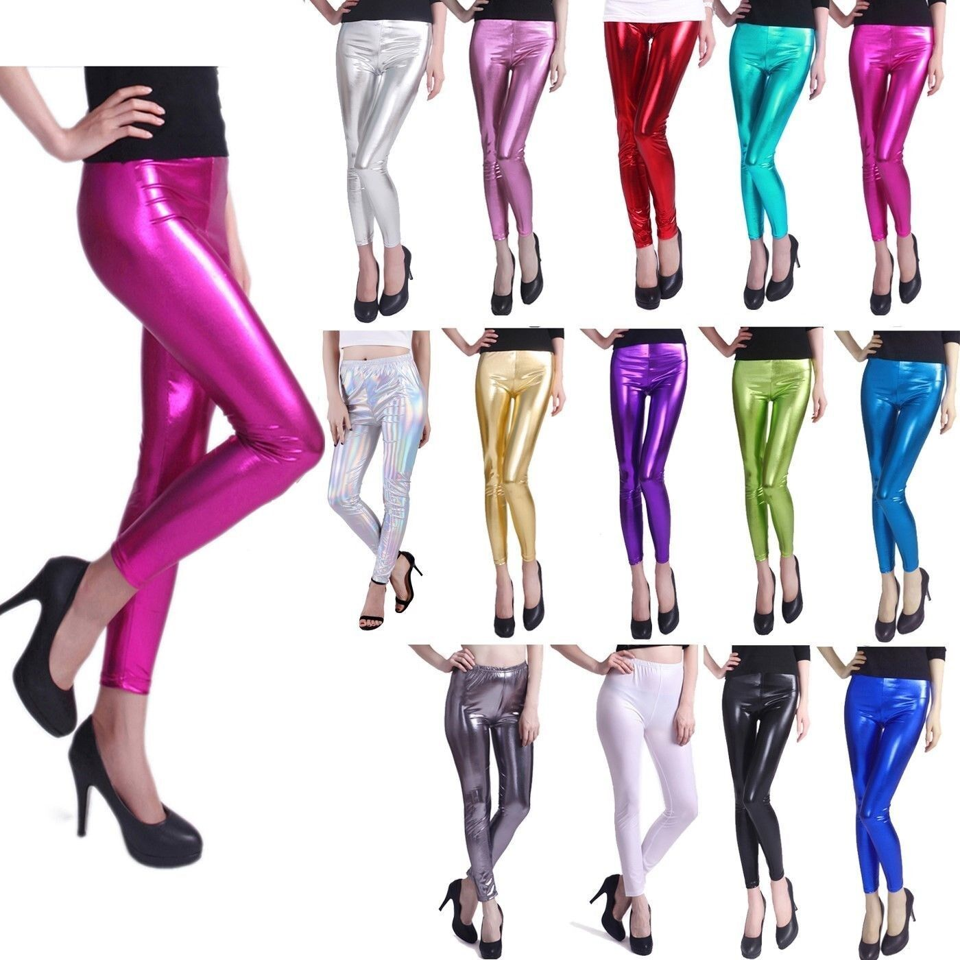 Leggings - Women's Sexy Shiny Metallic Leggings Liquid Wet Look Stretch Tight Fit Pants