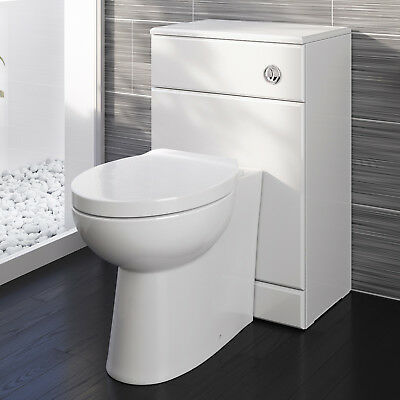 Toilet WC Back to Wall Bathroom Concealed Cistern Ceramic Soft Close Seat BS2880